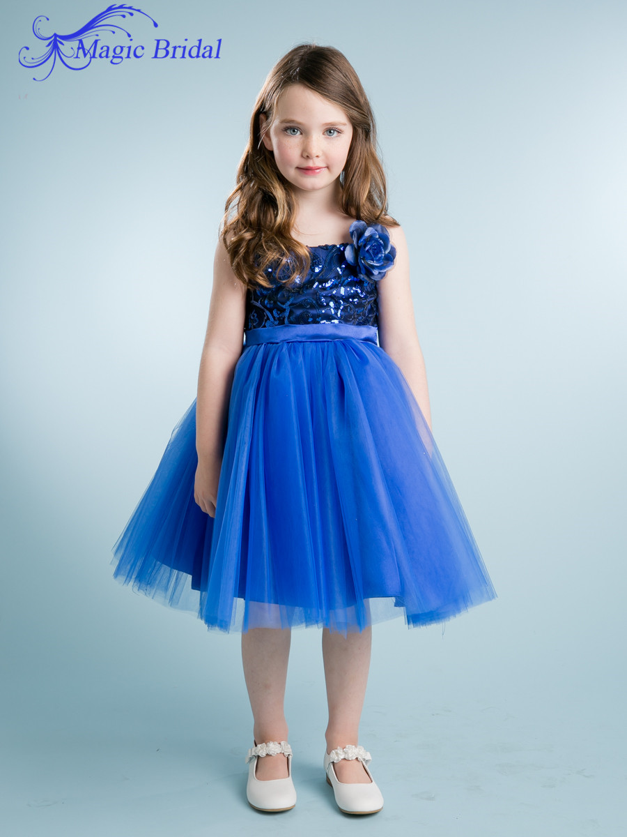 Royal blue knee length children flower girls dresses for Wedding dresses for young girls