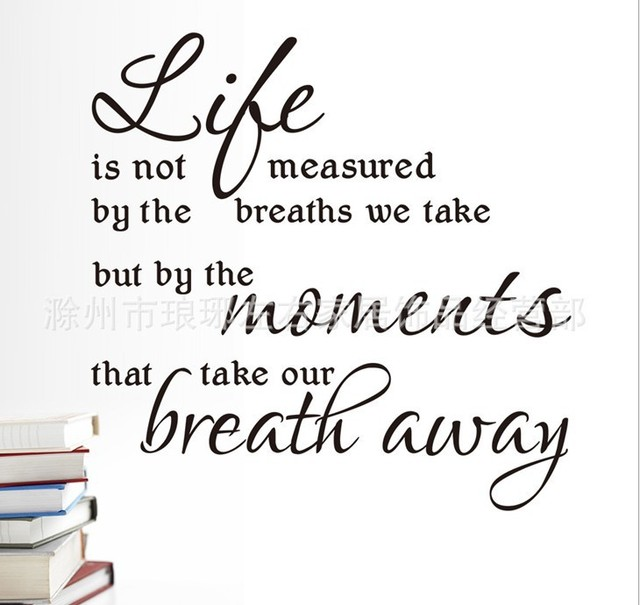 Life Is Not Measured By The Breaths Quote Wall Decals Zy8215