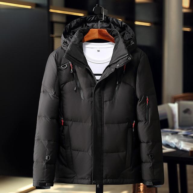 2018 зимний теплый пуховик паста пряжки карман на молнии толстые теплые мужские модные повседневные hooded Parker пальто зеленый оранжевый черный