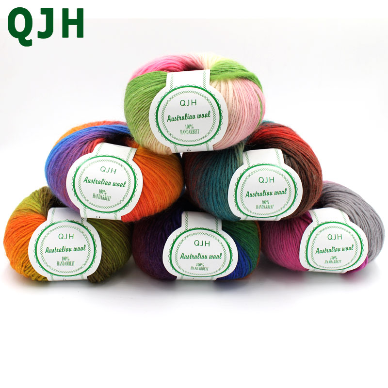 500g/lot luxury quality 100% wool yarns fancy iceland thick Hand knitting for yarn colorful knit yarn dye wool sweater knitwear