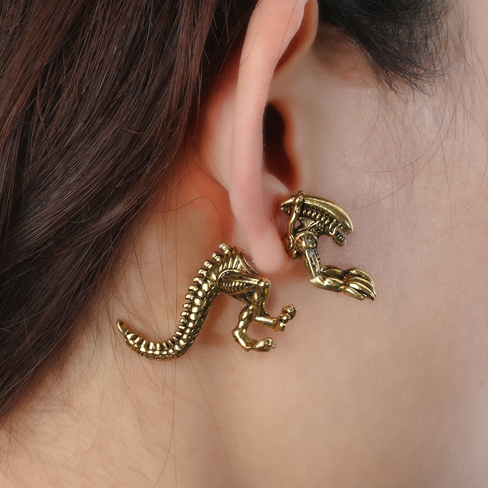 1 Pair Fashion Alien Earrings Dinosaur Earring Black ...