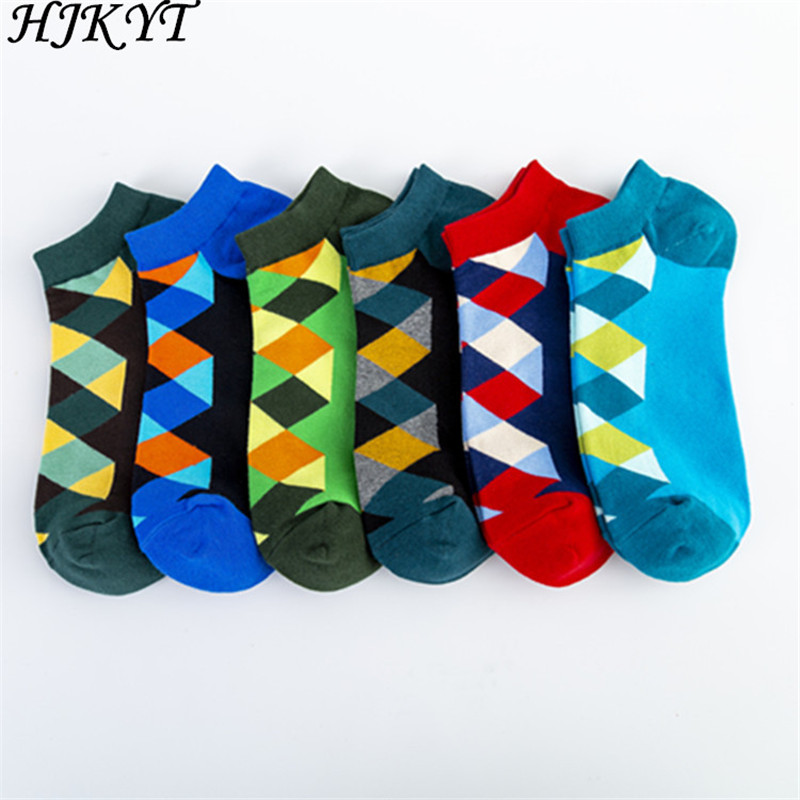HJKYT ankle funny short Socks Diamond Lattice Happy Leisure harajuku chaussette sloth calcetas regalo hombre crew cotton