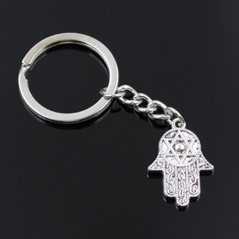 New Fashion Men 30mm Keychain DIY Metal Holder Chain Vintage Hamsa Palm Protection 28x19mm Silver Color Pendant Gift