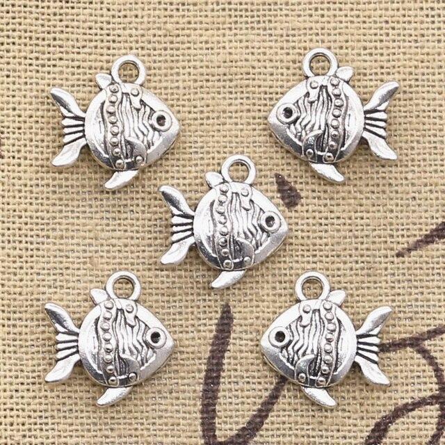 8pcs Charms double sided fish goldfish 14x15mm Antique pendant fit Vintage Tibetan Silver DIY bracelet necklace