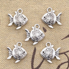 8pcs Charms double sided fish goldfish 14x15mm Antique pendant fit Vintage Tibetan Silver DIY bracelet necklace(China)