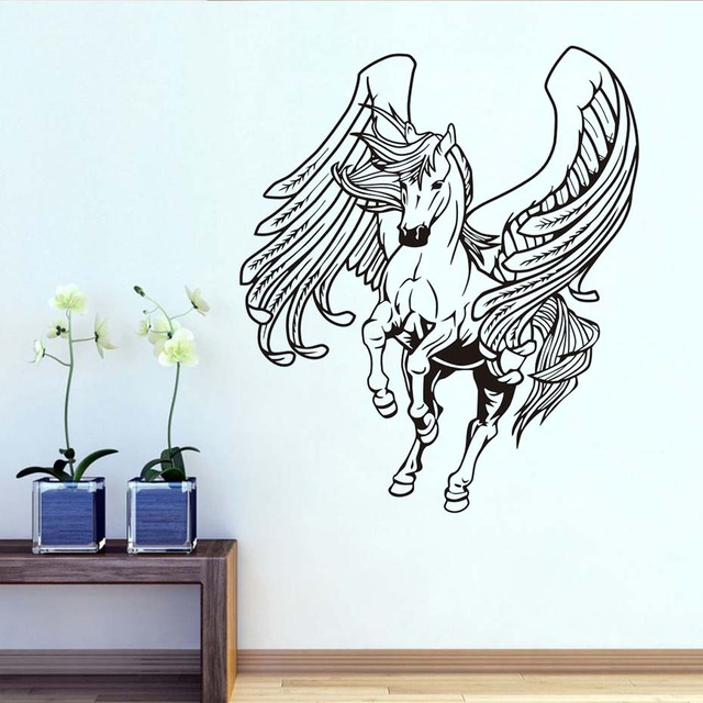 Relatively Horse With Wings Wall Stickers Flying Horse Wall Decals Animals  FV37