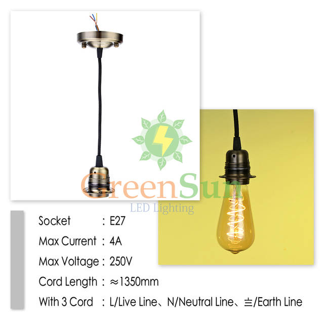 Online Greensun Antique Br 5pcs E27 Retro Lamp Holder Pendant Light Cord Set Ceiling Socket Base Rose With 1 35m Cable Aliexpress