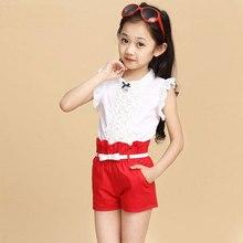 Девушки одежда комплект на лето ребенка кружева рубашка + шорты 2 шт. для возраста 5—14