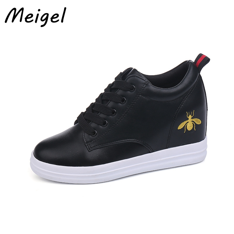 MEIGEL New British Fashion Style Height Increasing PU Leather Slip On Women Casual Shoes Leisure Loafers Flats White Black 408