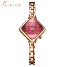 KIMIO Diamond Shape Square Watch Women Rose Gold Stainless Steel Bracelet Watches For Women Girls Dress Chinese Wrist Watch Sale цена 2017