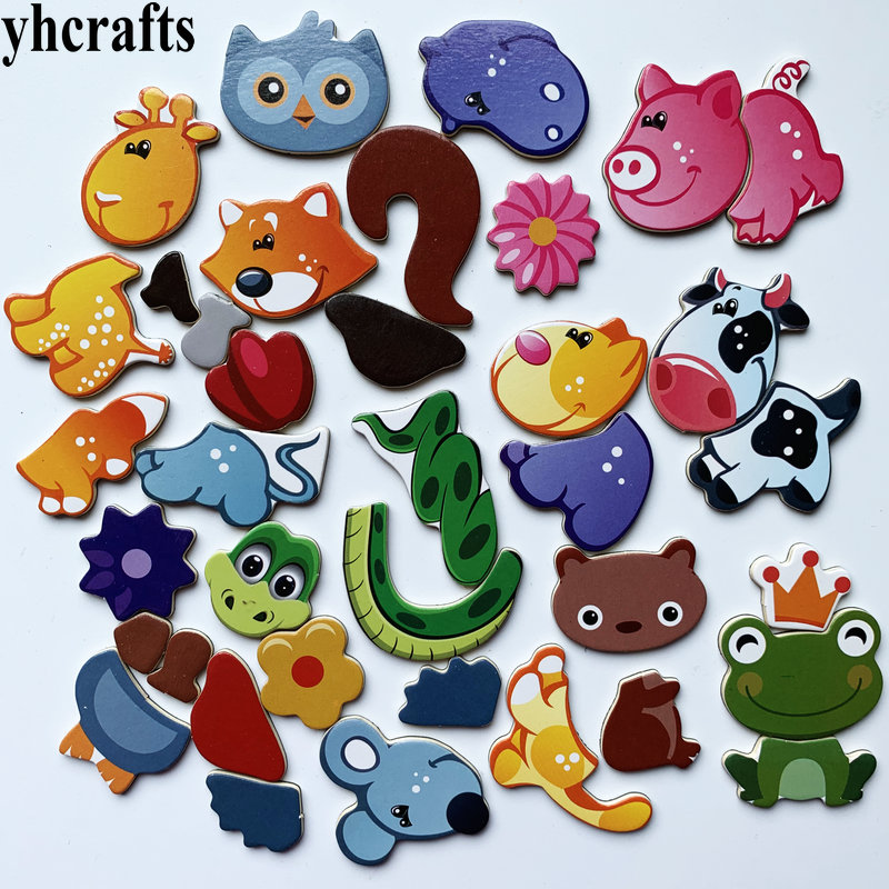 1SET(18PCS) Snake Cow Frog Owl Mouse Squirrel Animals Puzzle Fridge Magnet Magnetic Puzzle Early Learning Educational Toys OEM