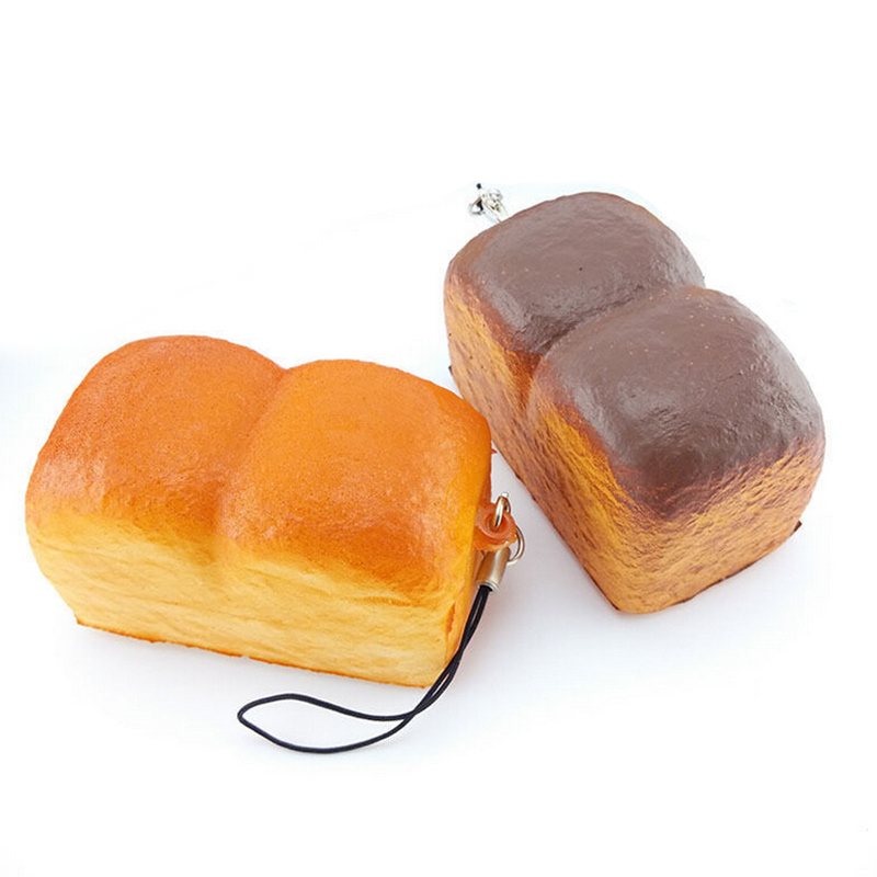 1 Piece 5 cm*3.5 cm*3.5 cm Key Chains Kawaii Squishy Loaf Cell Phone Charm Soft Scrent Bread Bag Strap Parts Accessories
