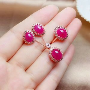 Image 4 - MeiBaPJ Natural Myanmar Ruby Gemstone 925 Pure Silver Earrings Ring Pendant Necklace 3 Suits Fine Wedding Jewelry Sets for Women
