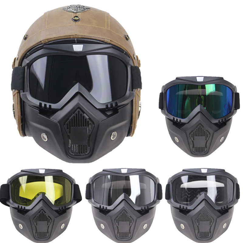 Profesional Retro Sepeda Motor Helm Goggle Masker Antik Masker Wajah Terbuka Helm Cross Helm Goggle 5 Warna Tersedia CE Disetujui