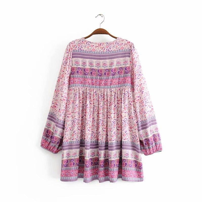 Image 2 - Женское платье с длинным рукавом, винтажное мини платье с длинным рукавом и цветочным принтомПлатья   -