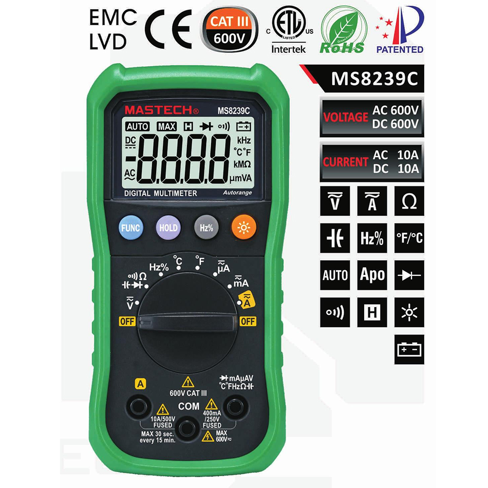 Mastech MS8239C Auto range Handheld 3 3/4 Digital Multimeter AC DC Voltage Current Capacitance Frequency Temperature Tester auto range handheld 3 3 4 digital multimeter mastech ms8239c ac dc voltage current capacitance frequency temperature tester