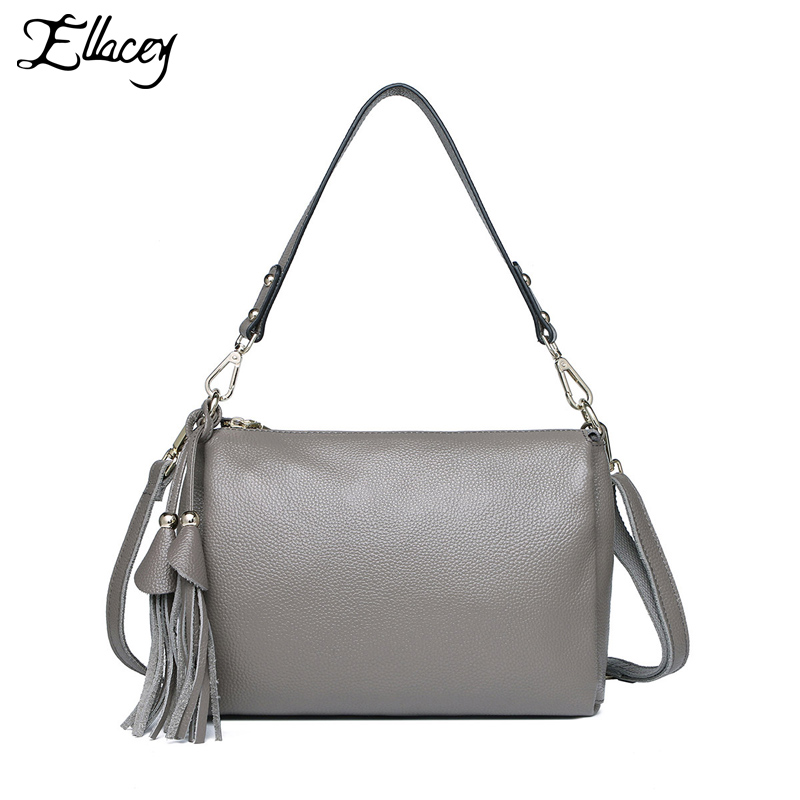 купить 2017 Famous Brand Shoulder Bag Ladies Summer Crossbody Bag 100% Genuine Leather Shell Bag Women Messenger Bag with Tassel Flap по цене 3167.32 рублей