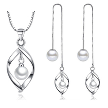 XIYEANIKE 925 Sterling Silver Bride Long Simple Temperament Jewelry Sets For Women Lady Wedding Gifts NE+EA 2019 New Wholesale