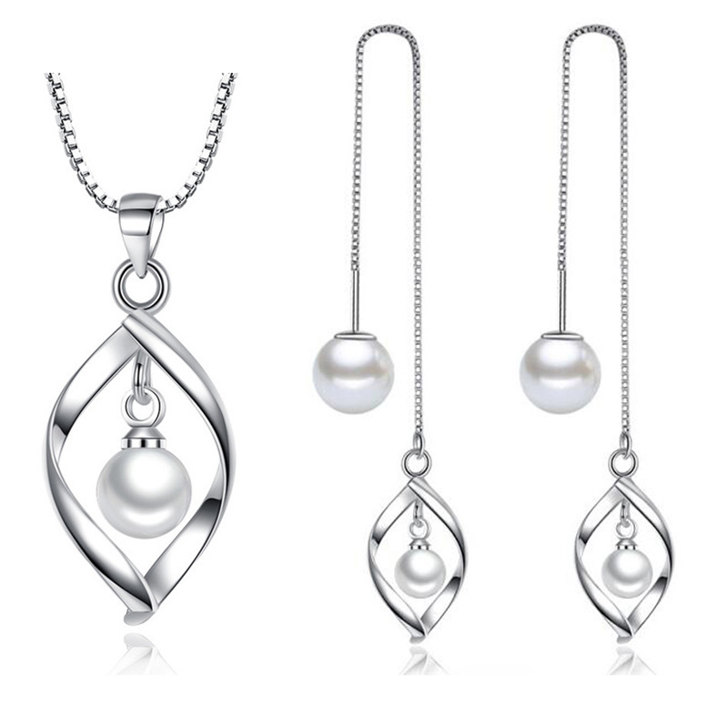XIYEANIKE 925 Sterling Silver Bride Long Simple Temperament Jewelry Sets For Women Lady Wedding Gifts NE+EA 2019 New Wholesale
