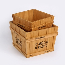 retro wooden box Potted plant container Desktop organizer Household tool storage basket bonsai pot Small object storage box
