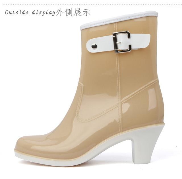 Rain Boots Women Waterproof Shoes Ankle Rubber Boots High Heel Rainboots Plus Size Botines Mujer Femininas Botas De Lluvia 2015