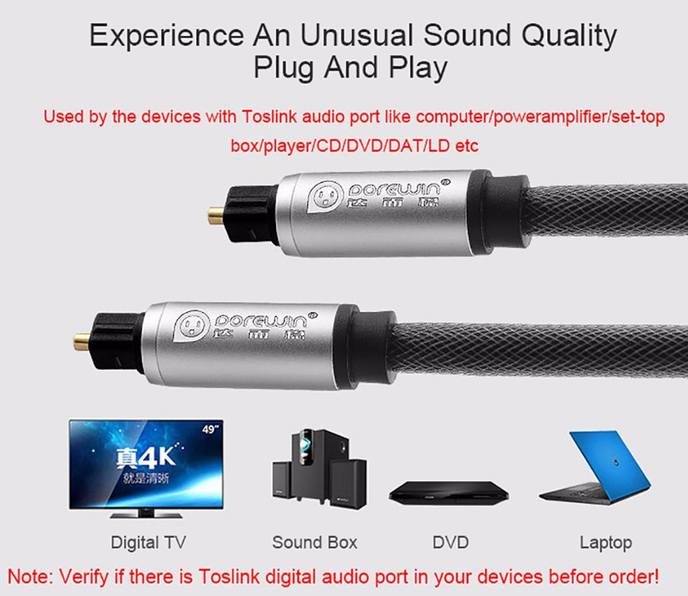 Dorewin Digital Optical Audio Cable Toslink Fiber Cable Adapter ...