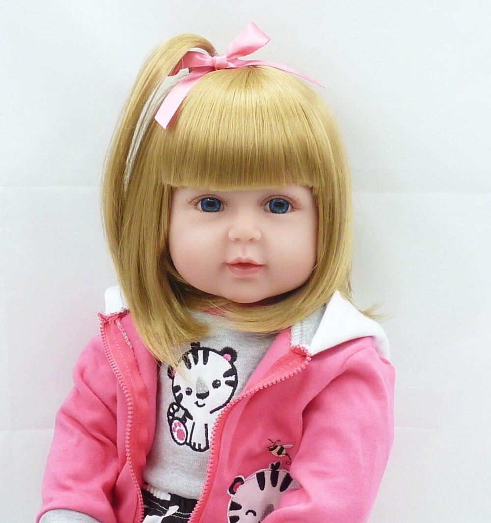 Bebe doll girl doll 24blond hair wig soft silicone vinyl baby reborn handmade fashion dolls for children gift bonecas reborn
