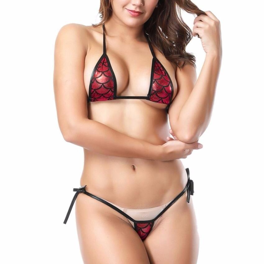 Сексуальное бикини женское привлекательное блестящее бикини микро Холтер Топ + набор набедренных повязок купальные трусики бикини