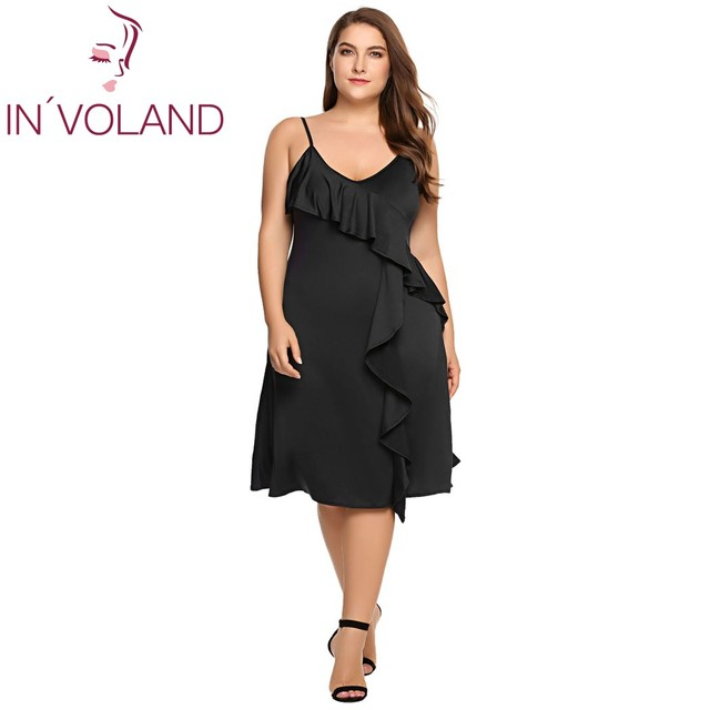 Women Dress Summer A-line Plus Size Spaghetti Strap Deep V-Neck Strappy Solid Ruffled Ladies Party Dresses Vestidos 2