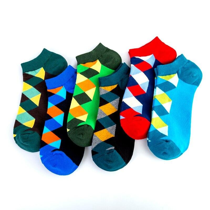 Fashion Ankle Checkerboard Geometric Diamond Happy Style Socks Casual Street Skate Cotton Short Funny Women Men