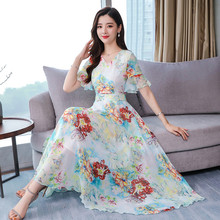 Summer New Style Flare Sleeve Printed Temperament Beach Type Chiffon Dress