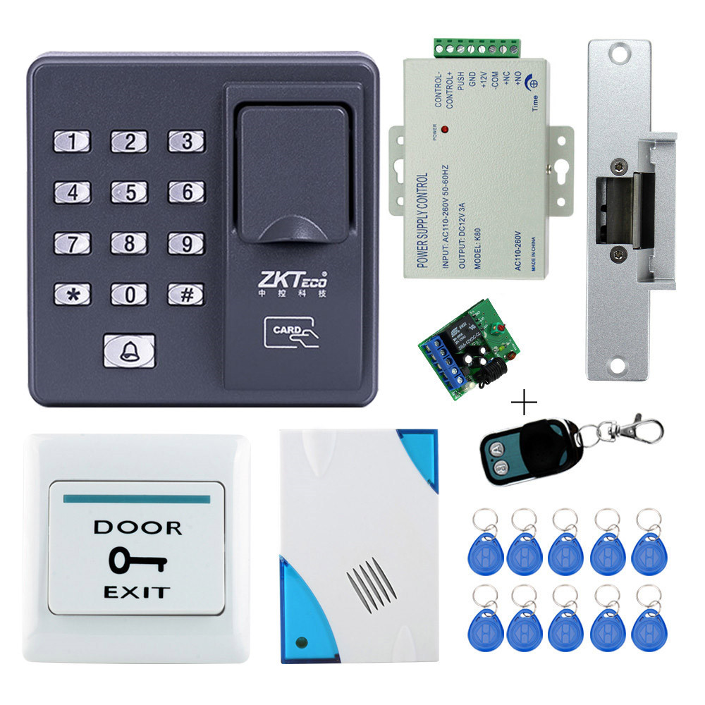 Full kit biometric fingerprint access control X6+electric strike lock+power supply+exit button+door bell+remote control+key card free shipping 3000users full access control system kit set with electric strike lock remote control door bell power exit keypad