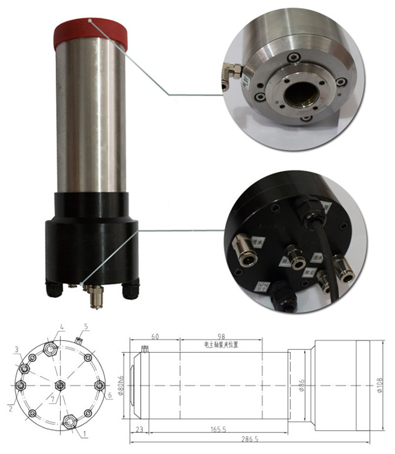 2HP 1.5kw 30000RPM ISO20 3 bearings Automatic Tool Changes ATC Spindles GDL80-20-30Z-1.5 220VAC CNC Router 3 3 300 30000