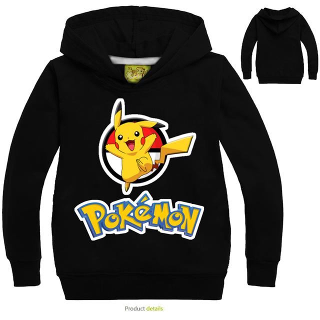 2016 Pokemon Moda Ir Los Niños Con Capucha Ropa Niños Niñas de Manga Larga Camisetas Otoño Bebé Caliente Outwear Abrigos Niños Capucha de la Chaqueta