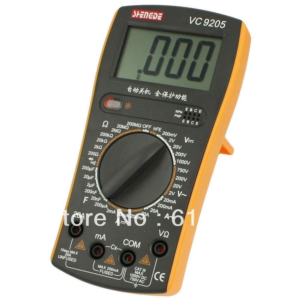 LCD Display AC DC Voltmeter Resistance Ohmmeter Capacitance Diode hFE Testing Tool Volt Amp Ohm Meter VC9205 Digital Multimeter