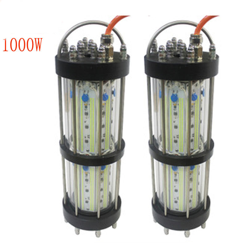 1000W 8W LED underwater Fishing Lure Green Night fishing boat lights 6 to 30 Meters Cable Al and PMMA