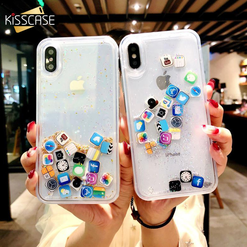 KISSCASE Dynamic Quicksand Case For iPhone 11 Pro MAX XS XR App Icon Glitter Silicone Hard Cover For iPhone X 8 7 6 6s Plus Case image