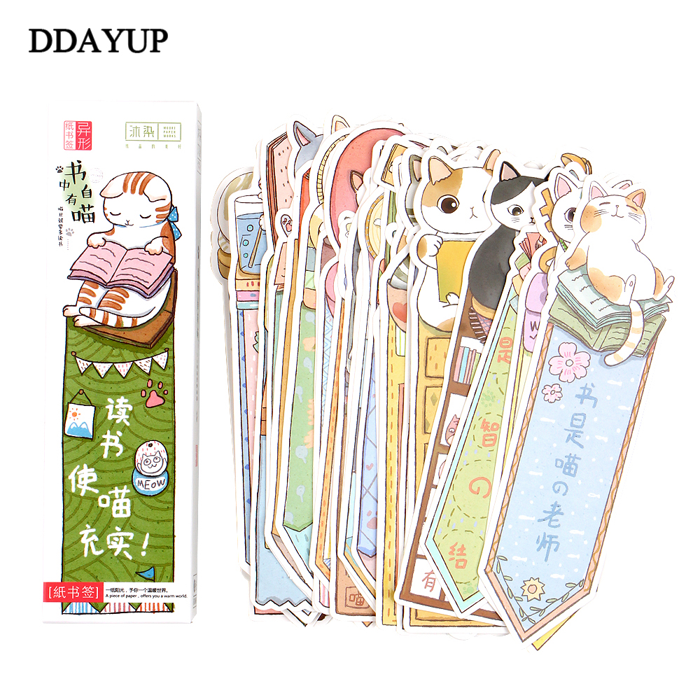 30Pcs/lot Cute Funny Cat Shaped Paper Bookmark Gift Stationery Bookmarks Book Holder Message Card Office School Supplies