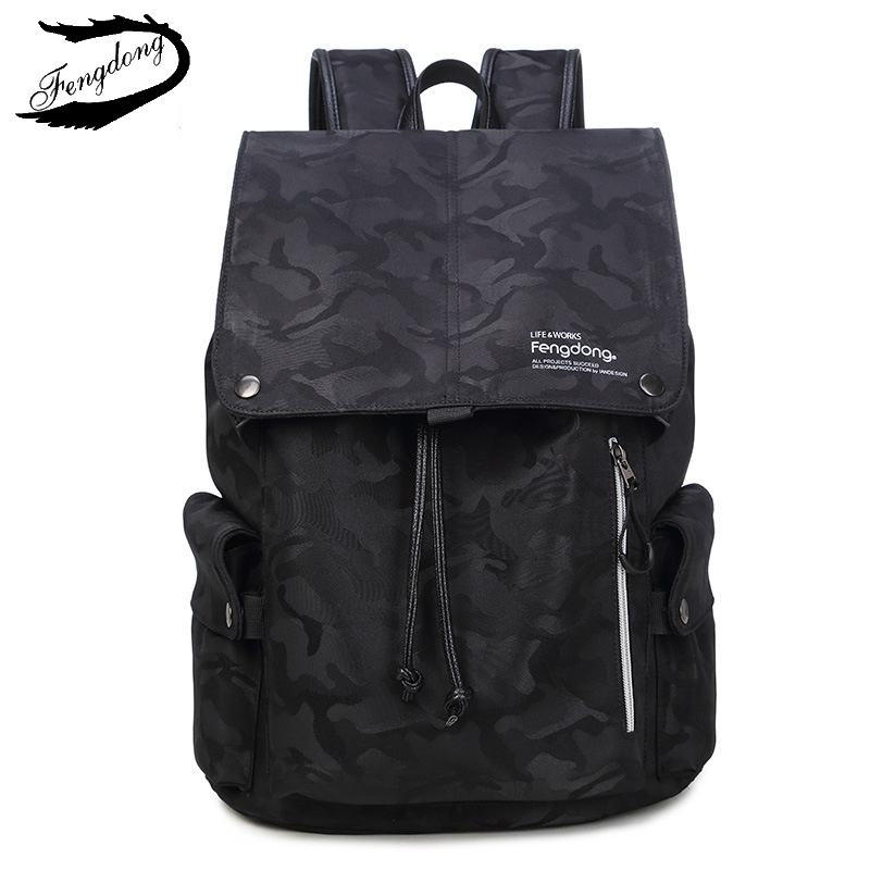Fengdong Brand Men Camouflage Backpack College Students Fashion Trend Waterproof Usb Bag Male Mochila Leisure Travel