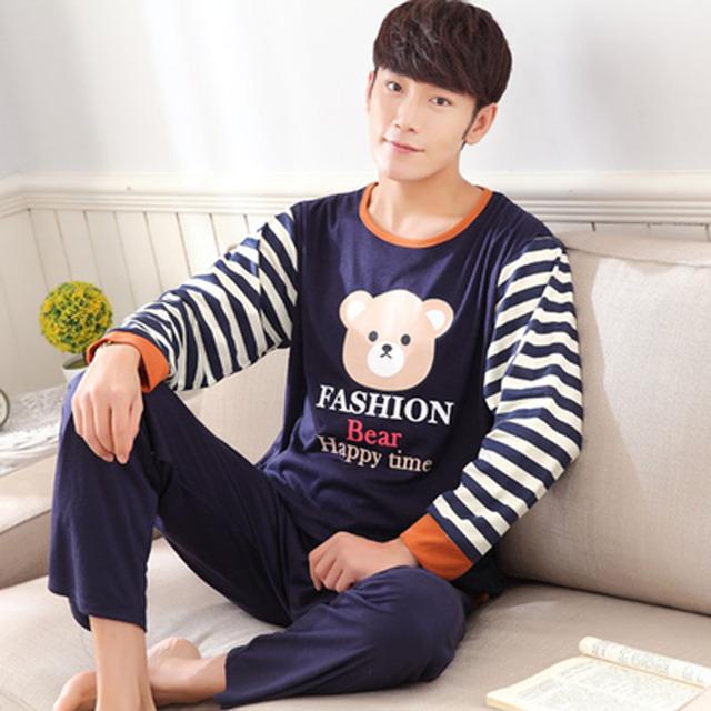 Pijama de otoño más el tamaño conjunto de salón masculino 2017 nueva primavera de manga larga de algodón ocasional de los hombres ropa de dormir 3xl 4xl 5xl jersey