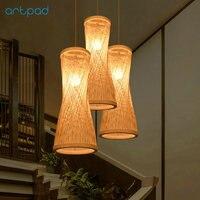 Artpad Japanese Design DIY Handknitted Bamboo Pendant Light E27 LED Dining Room Living Room Ceiling Hanging Lights Lamp Fixtures