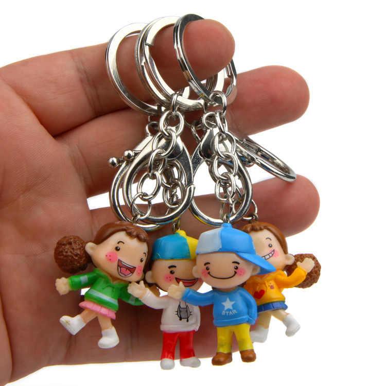 4 pçs/set Novo Amante Bonito Moda Boneca Da Menina do Menino Dos Desenhos Animados Animação Sino Figura de Ação Para O Chaveiro Chave Titular Cadeia Bolsa saco