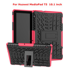 NTSPACE Hybrid PC+TPU Silicone Armor Holder Back Cover For Huawei MediaPad T5 10.1 inch Full Body Shockproof Protective Case стоимость