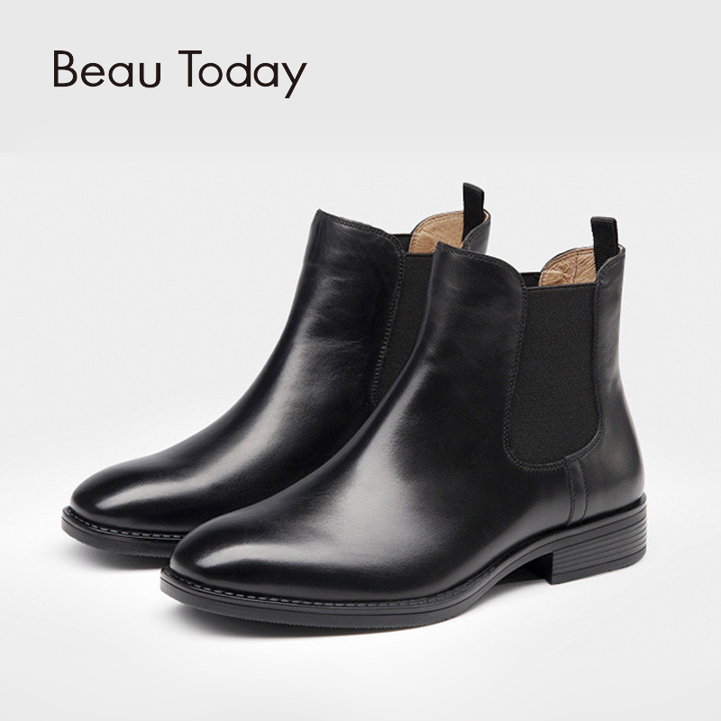 2016 New Women Chelsea boots Winter Warm Martin Boos Full Grain Leather Women's Shoes Short Boots Woman Square Heel Black Botas 2017 new anti slip women winter martin