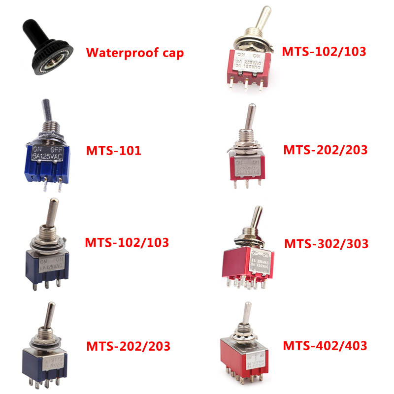 6A 120VAC Mini 2 Position ON ON MTS-102 MTS-202 Toggle Switch 3 Position MTS-103 MTS-203 ON OFF ON Switch With Waterproof Cap