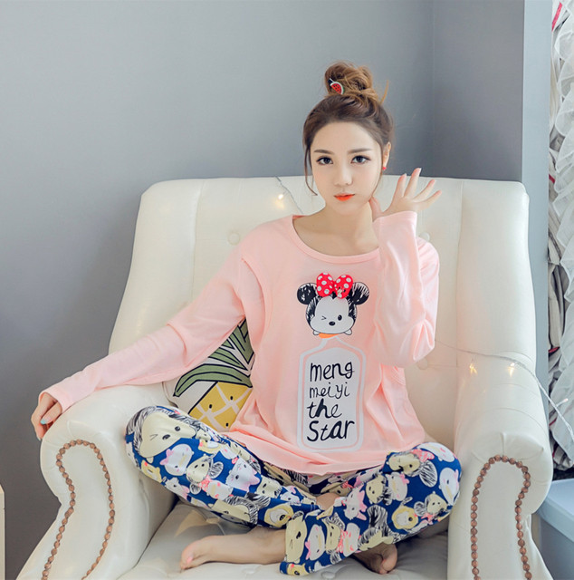 Autumn and winter cotton feeding month postpartum lactation clothes and maternal Home Furnishing suit pregnant female pajamas