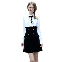 Spring Ladies Office Dress Black And White Patchwork Double Breasted Flounced Pockets Long Sleeve Cute T