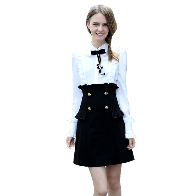 Spring Ladies Office Dress Black And White Patchwork Double Breasted Flounced Pockets Long Sleeve Cute T Shirt Dress Vestido