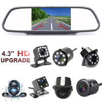 Monitor Rearview Mirror With Reversing Camera 4 3 HD Screen Monitor Auto Parking Assistance With Night