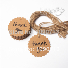 Free Shipping 50X Lace Round thankyou Label With Hemp Rope Gift Tag Bookmarks DIY Wedding Birthday Party Gifts Deco